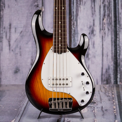 Used Music Man Stingray 5-String Electric Bass, Vintage Sunburst, front closeup