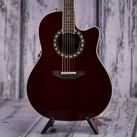 Used Ovation 2077 LX Legend Acoustic Electric, 2016, Burgundy, front closeup
