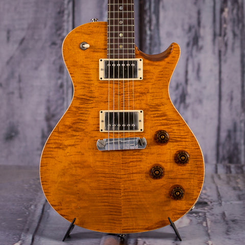 Used Paul Reed Smith SC245 Singlecut Electric Guitar, 2009, Amber Flametop, front closeup