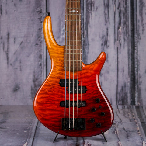 Used Roscoe Century Custom 5 Electric Bass, 2016, Red To Yellow Fade, front closeup