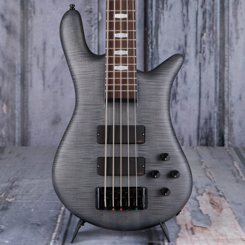 Used Spector Euro5 LX 5-String Electric Bass Guitar, Trans Black Satin Matte, front closeup