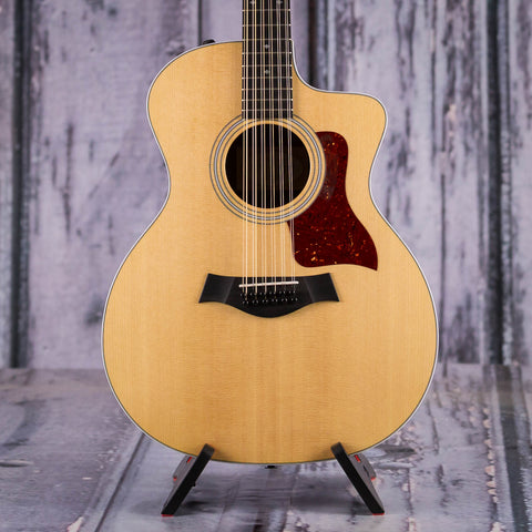 Used Taylor 254ce DLX 12-String Acoustic Electric Guitar, 2015, Natural, front closeup