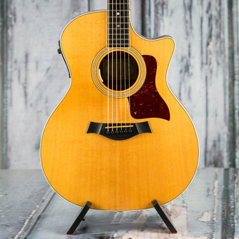 Used Taylor 414ce Acoustic/Electric Guitar, 2001, Natural, front closeup