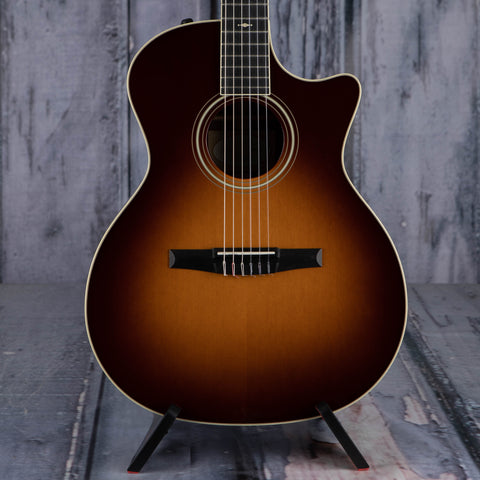 Used Taylor 714ce-N Classical Acoustic/Electric Guitar, 2011, Western Sunburst, front closeup