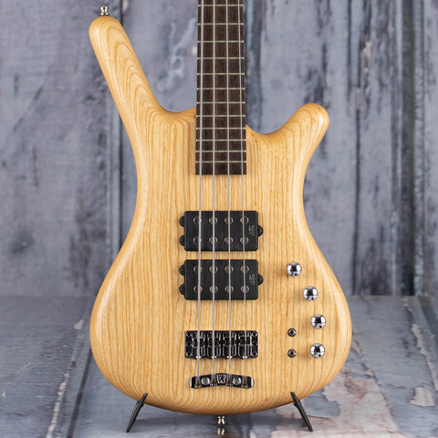 Used Warwick Corvette Electric Bass Guitar, Natural, front closeup