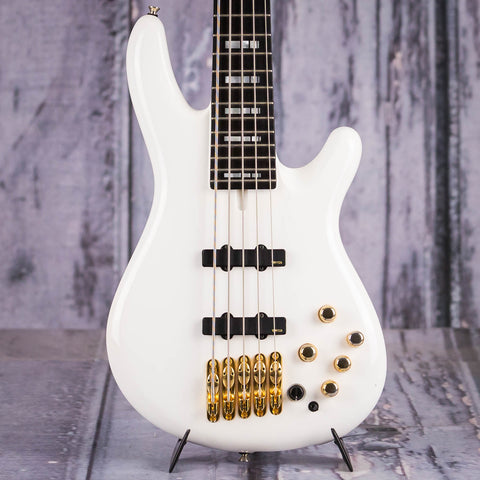 Used Yamaha BBNE2 Nathan East Signature Model Electric Bass Guitar, 2016, White, front closeup