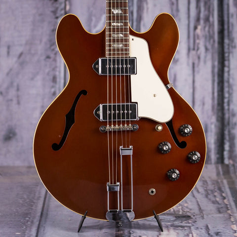 Vintage Epiphone Casino Hollowbody Electric Guitar, 1967, Sparkling Burgundy, front closeup