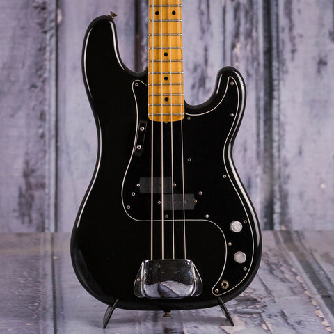 Vintage Fender Precision Bass Guitar, 1978, Black, front closeup