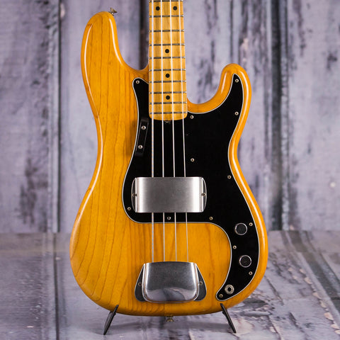Vintage Fender Precision Bass Guitar, 1978, Natural, front closeup