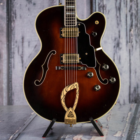 Vintage Guild X-500 Hollowbody Guitar, 1990, Autumn Burst, front closeup