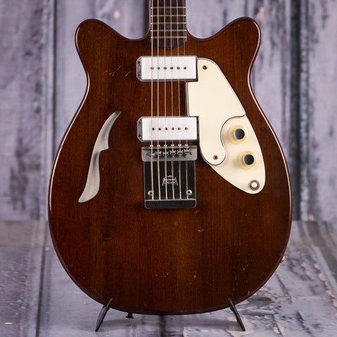 Vintage Micro-Frets Golden Comet Semi-Hollowbody Guitar, 1970, Walnut Brown, front closeup