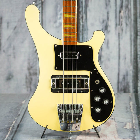 Vintage Rickenbacker 4003 Electric Bass Guitar, 1985, White, front closeup