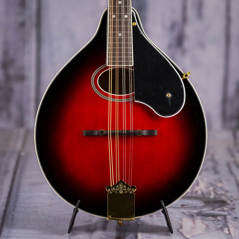 Washburn Americana Series M1SDLTR-A-U A-Style Mandolin, Transparent Red, front closeup
