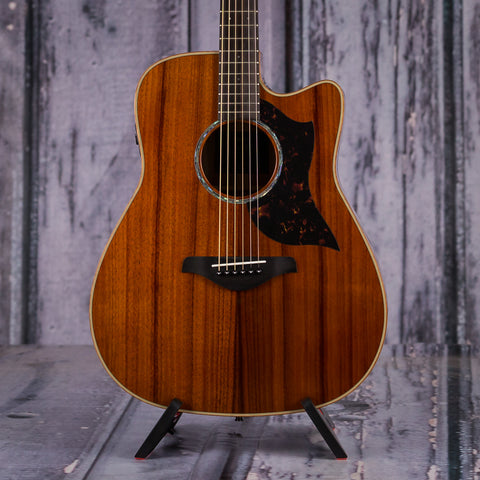 Yamaha A4KII Limited Edition Koa Dreadnought Cutaway Acoustic Electric Guitar, Natural, front closeup