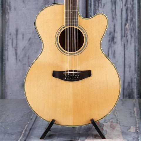 Yamaha CPX700II-12 12-String Acoustic/Electric Guitar, Natural, front closeup