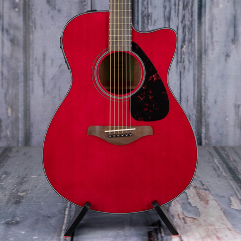 Yamaha FSX800C Concert Cutaway Acoustic/Electric Guitar, Ruby Red, front closeup
