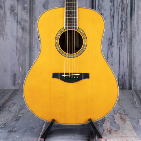 Yamaha LL-TA TransAcoustic Dreadnought Acoustic/Electric Guitar, Vintage Tint, front closeup
