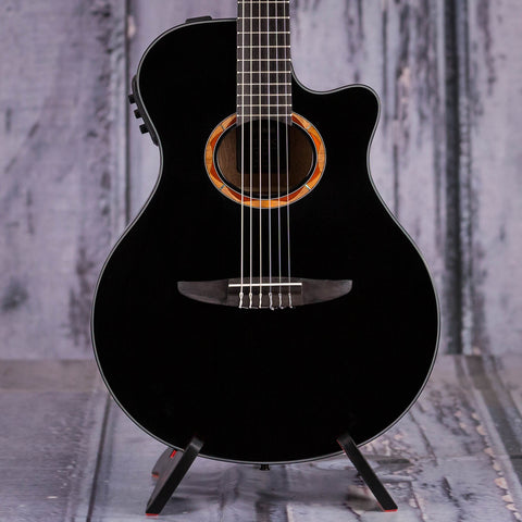 Yamaha NTX700BL Classical Acoustic/Electric Guitar, Black, front closeup