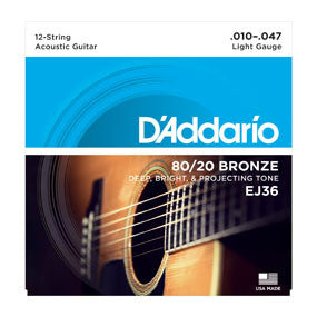 D'Addario EJ36 80/20 12-String Bronze Acoustic Guitar Strings, Light, 10-47