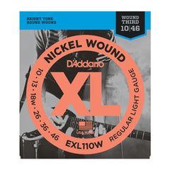 D'Addario EXL110W Nickel Wound, Regular Light, Wound 3rd, 10-46