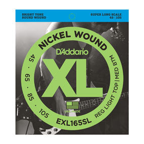 D'Addario EXL165SL Nickel Wound Bass, Custom Light, 45-105, Super Long Scale