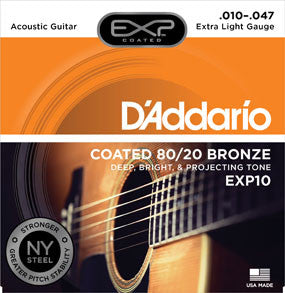 D'Addario EXP10 Coated 80/20 Bronze, Extra Light, 10-47
