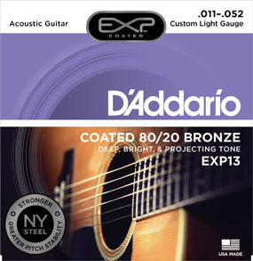 D'Addario EXP13 Coated 80/20 Bronze, Custom Light, 11-52