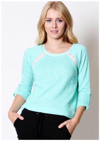 Lace Paneled Sweatshirt