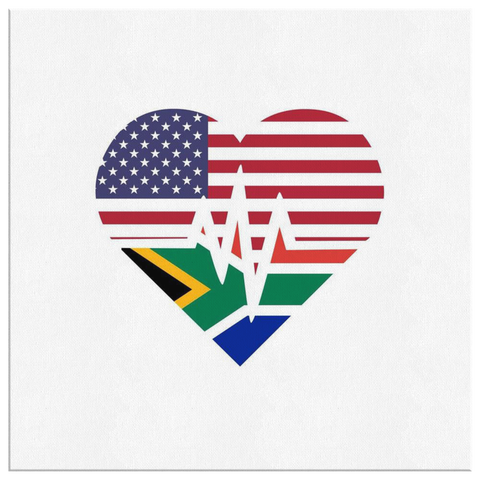 South African American - Flags Heartbeat