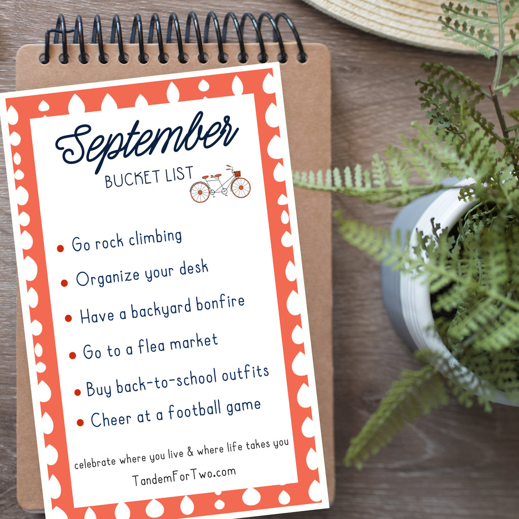 September Bucket List from Tandem For Two