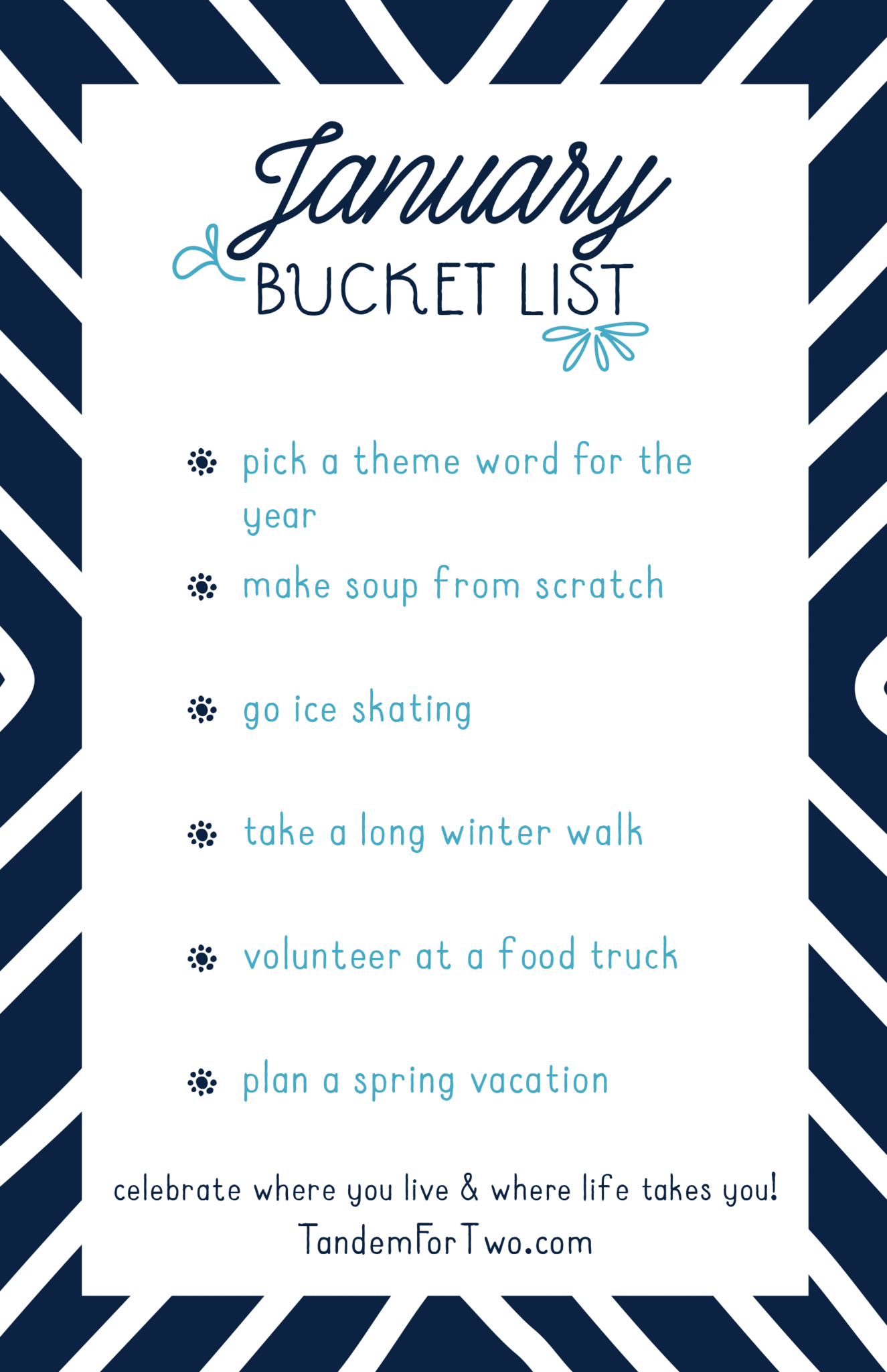 January Bucket List from Tandem For Two