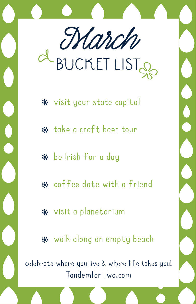 March Bucket List from Tandem For Two