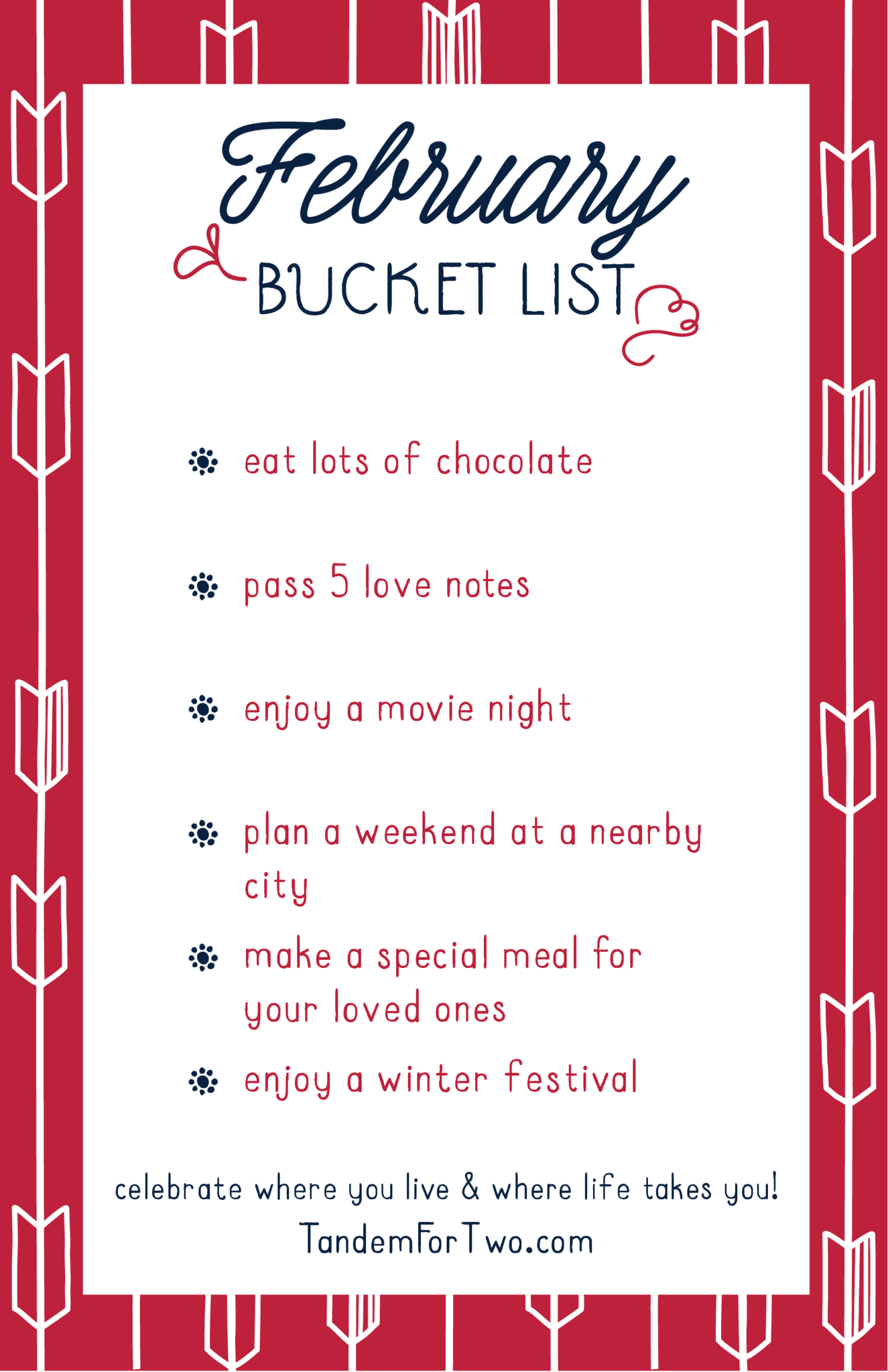 February Bucket List from Tandem For Two