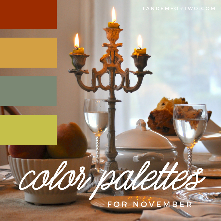 November Color Palettes from Tandem For Two