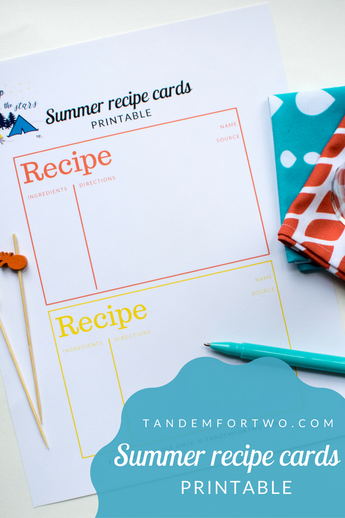 Freebie: August 2017 Summer Recipe Cards Printable