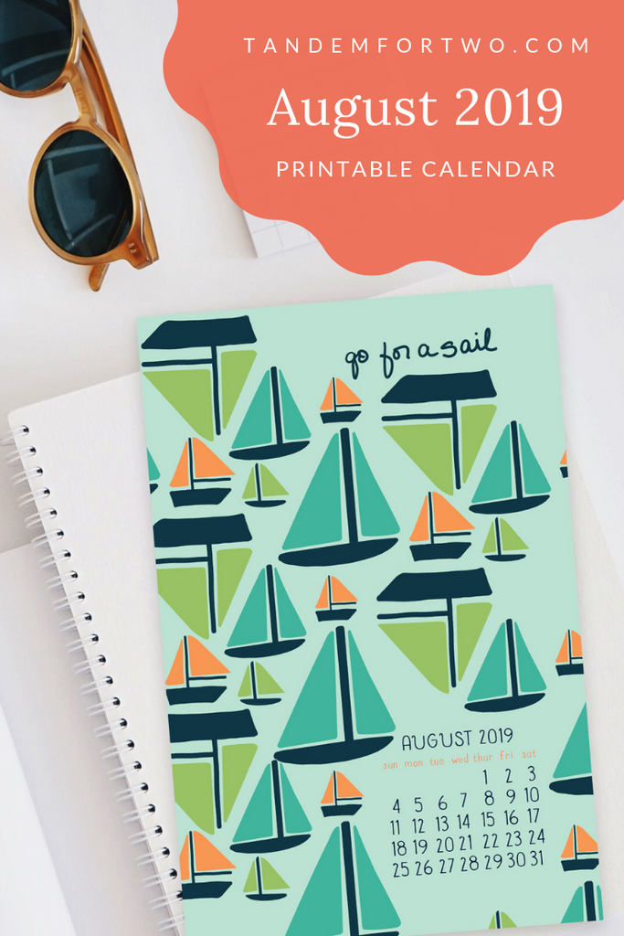 Freebie: August 2019 Calendar, Tandem For Two