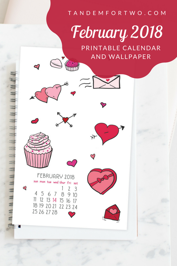 Freebie: February 2018 Calendar from Tandem For Two