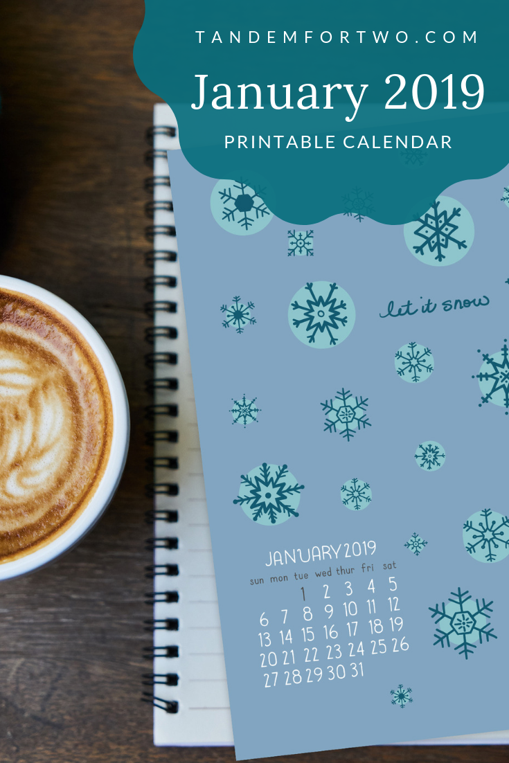Freebie: January 2019 Calendar Tandem For Two