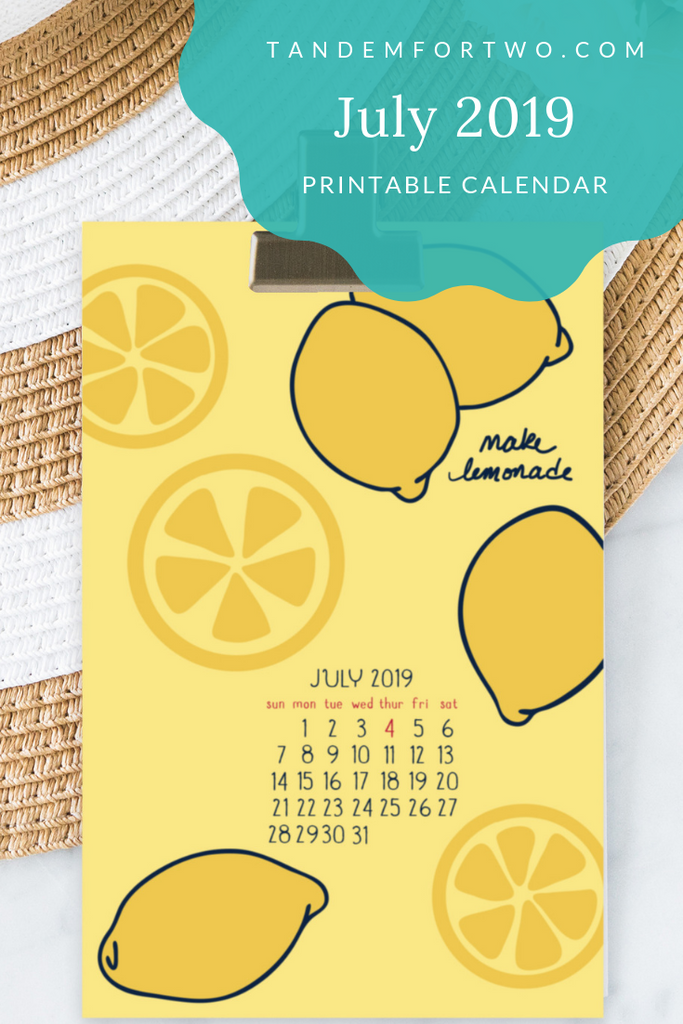 Freebie: July 2019 Calendar - Tandem For Two