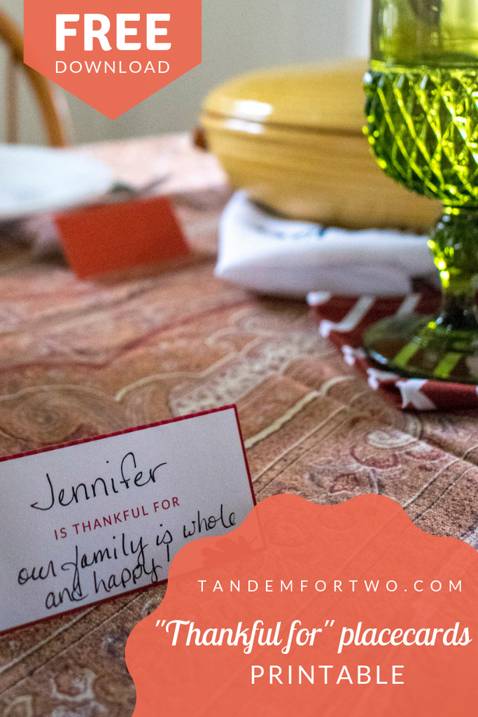 "Freebie: ""Thankful for"" Placards Printable - tandemfortwo.com"