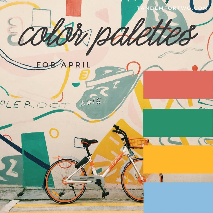April Color Palettes from Tandem For Two