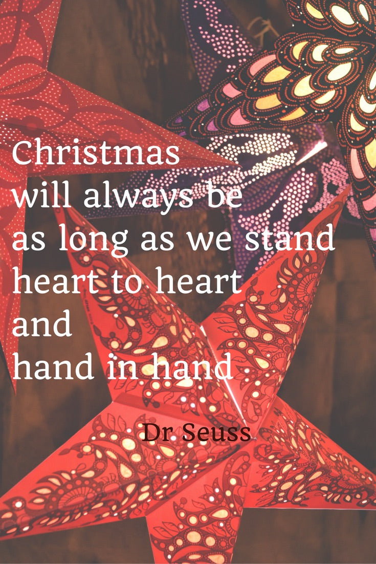 "Just a thought from Tandem For Two: ""Christmas will always be as long as we stand heart to hear and hand in hand."" Dr. Seuss"