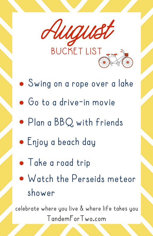 August Bucket List from Tandem For Two