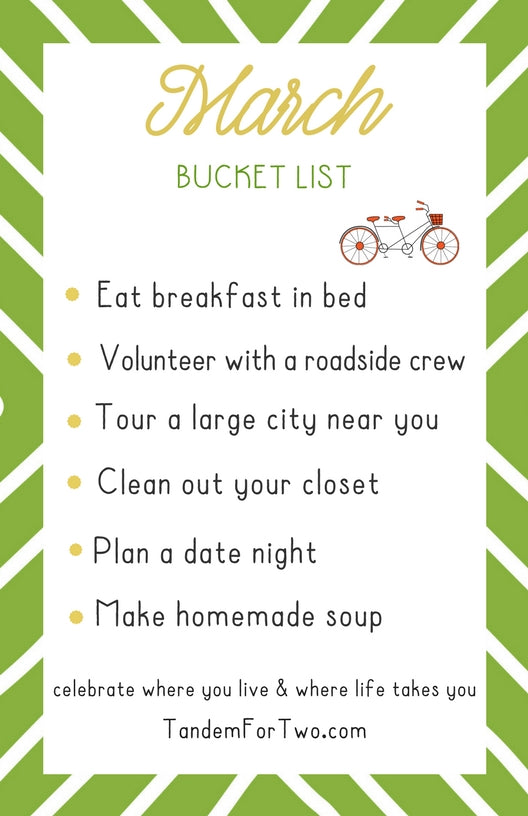 March Bucket List from tandemfortwo.com