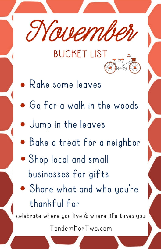 November Bucket List from Tandem For Two