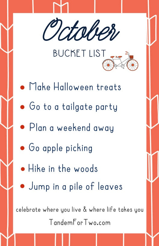 October Bucket List from Tandem For Two
