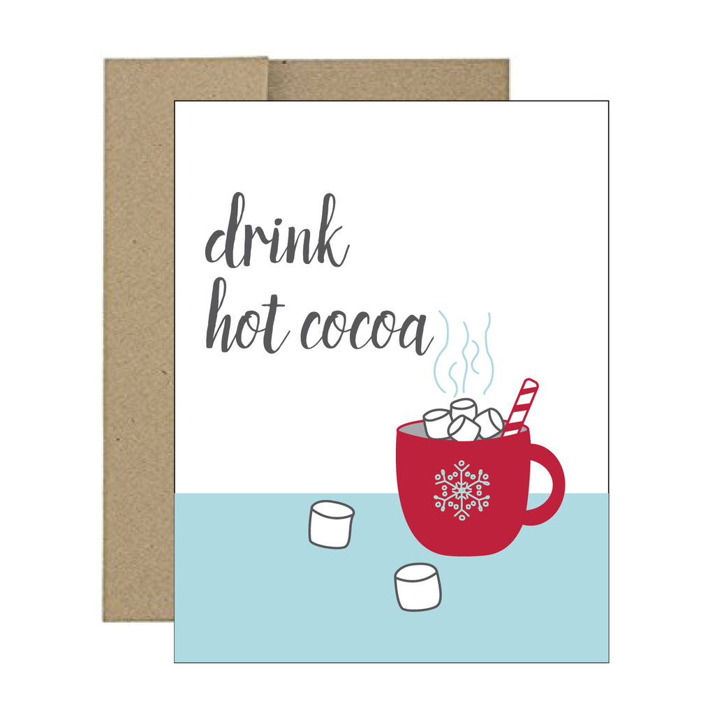 Greeting Card - Drink Hot Cocoa - Tandem For Two