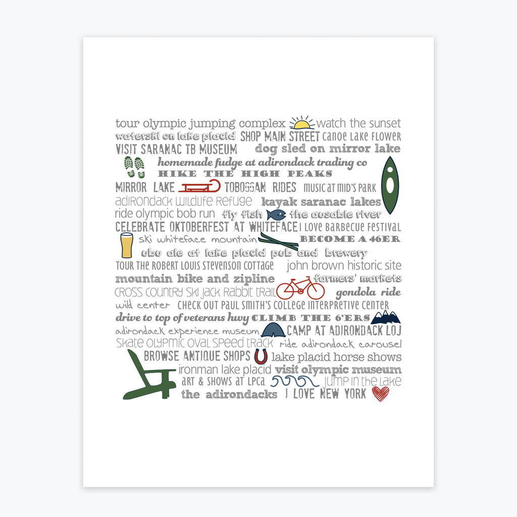Art Print - Adirondacks Bucket List - Tandem For Two