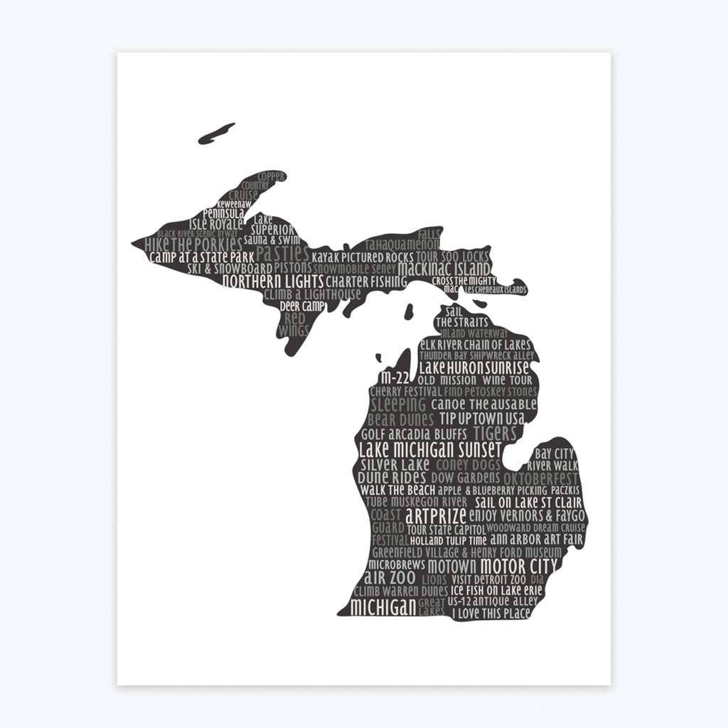 Art Print - Natural Michigan Silhouette - Tandem For Two