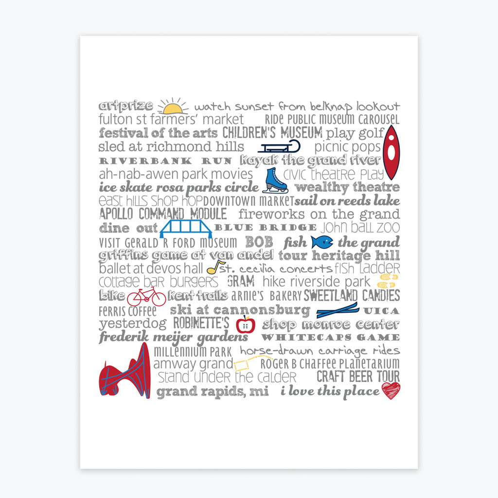 Art Print - Grand Rapids Bucket List